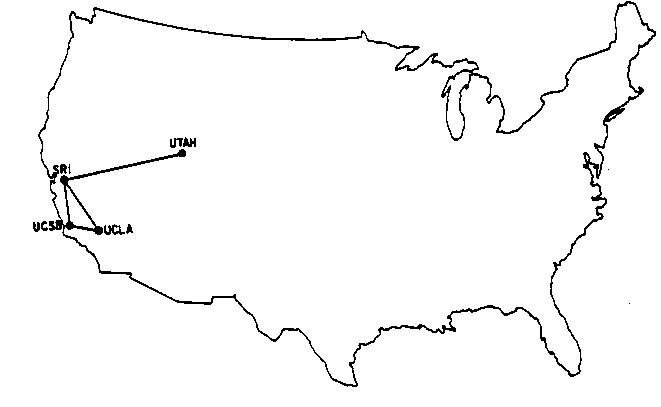 map of ARPANET 1969